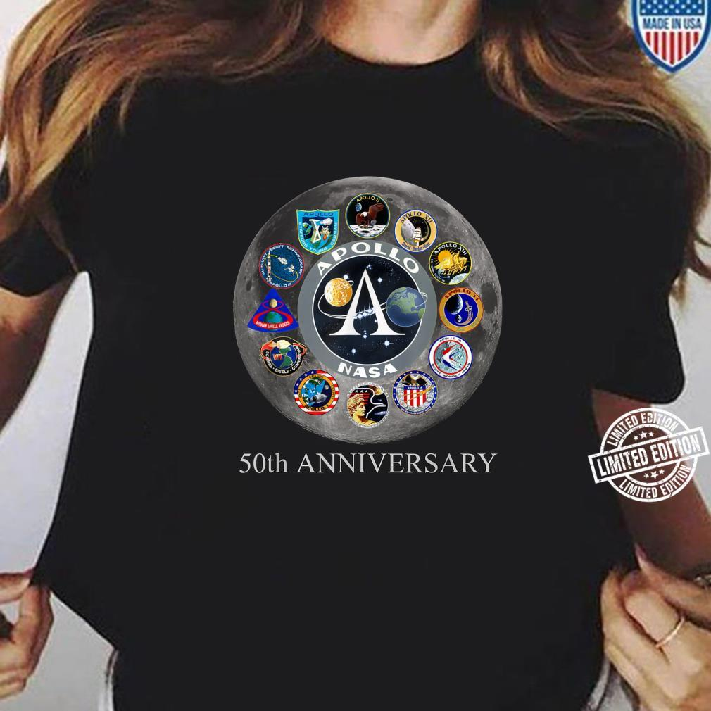 All Apollo Mission Badges Pacht 50th Moon Landing Idea Shirt ladies tee
