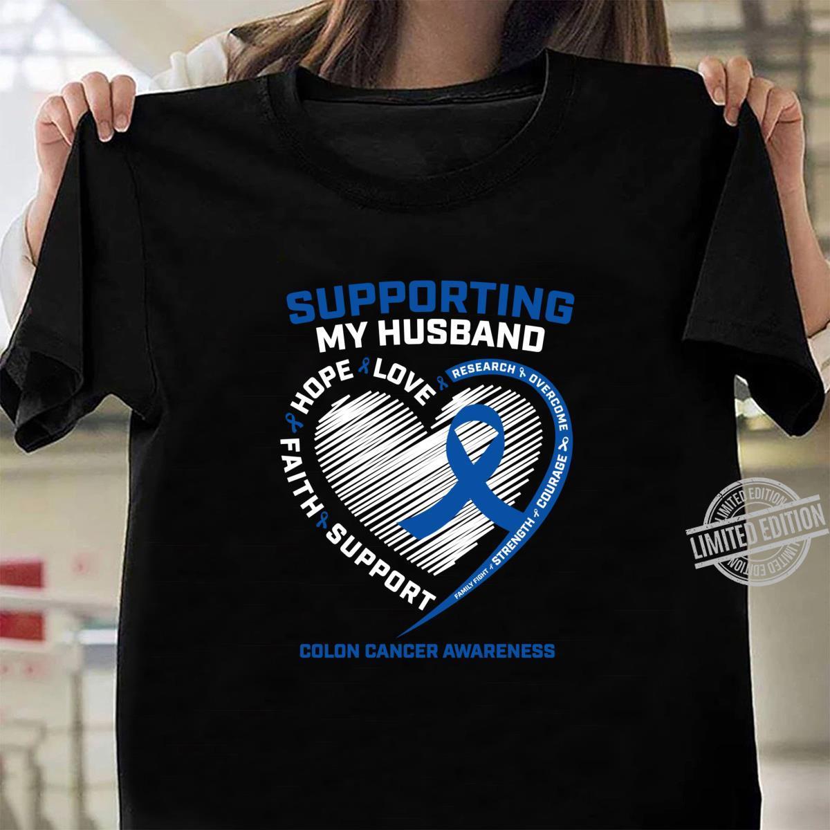 Blue Colon Cancer Awareness Husband Wife Family Shirt