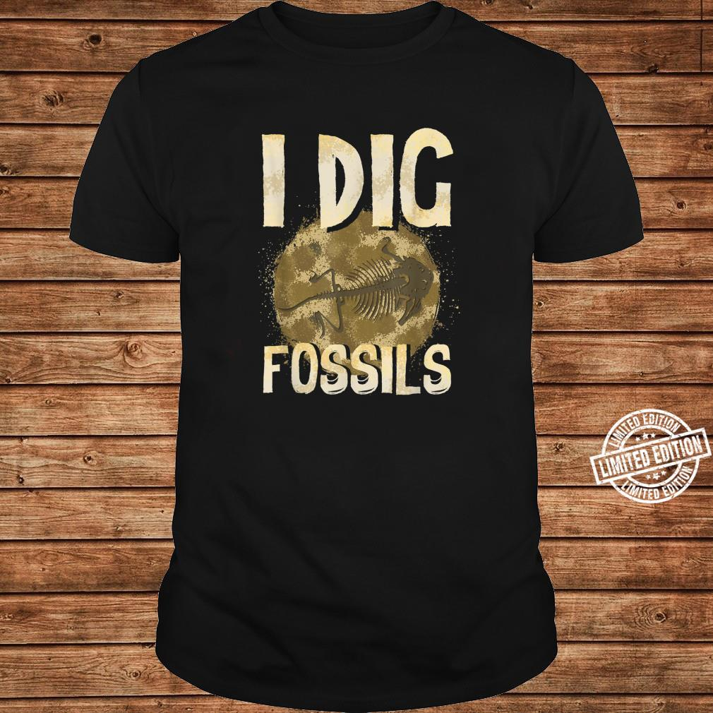 Funny I Dig Fossils Paleontology Pun Dinosaur Shirt long sleeved
