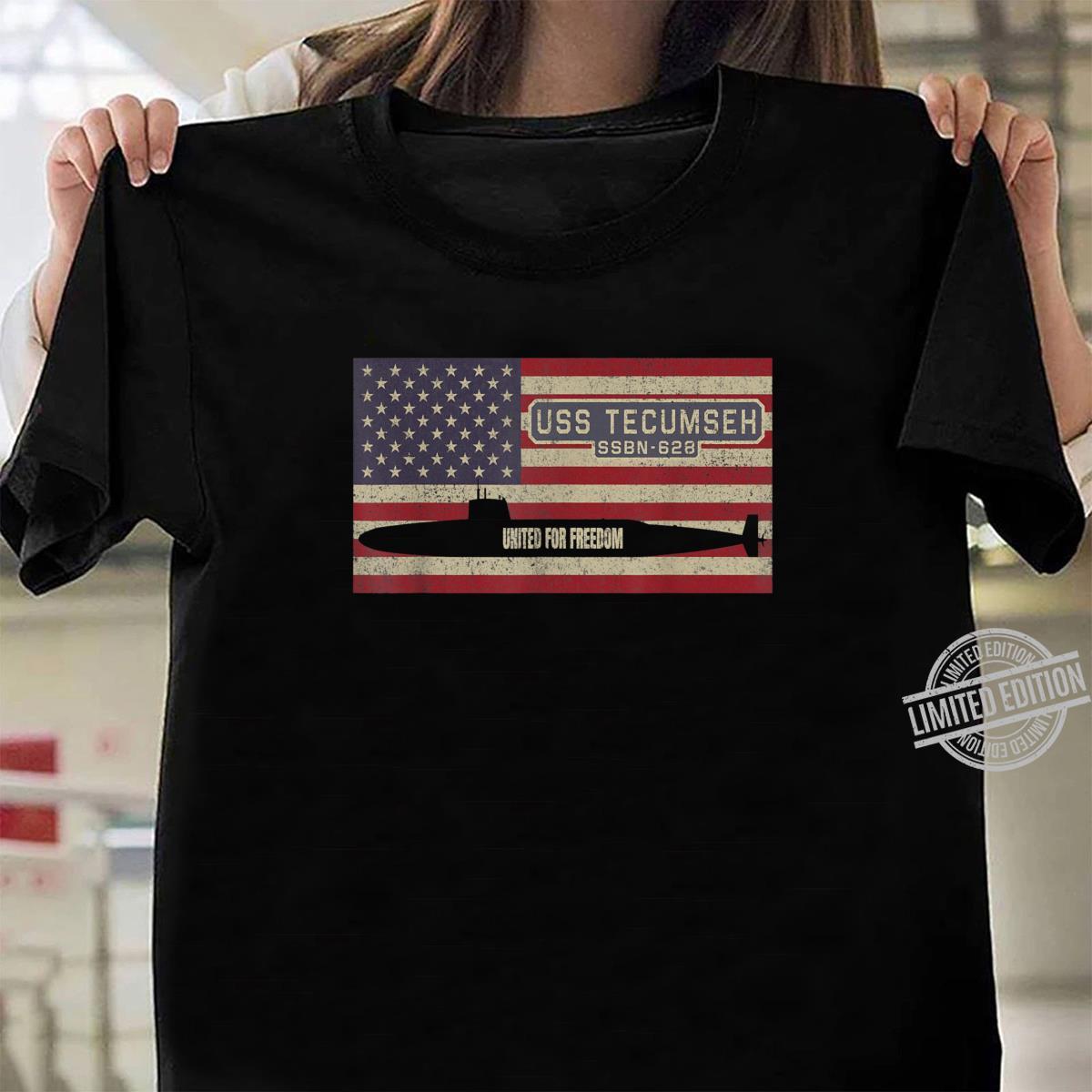 USS Tecumseh SSBN628 UBoot USA Flag Geschenk Shirt ladies tee