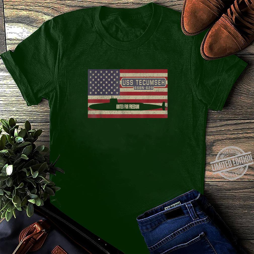 USS Tecumseh SSBN628 UBoot USA Flag Geschenk Shirt long sleeved
